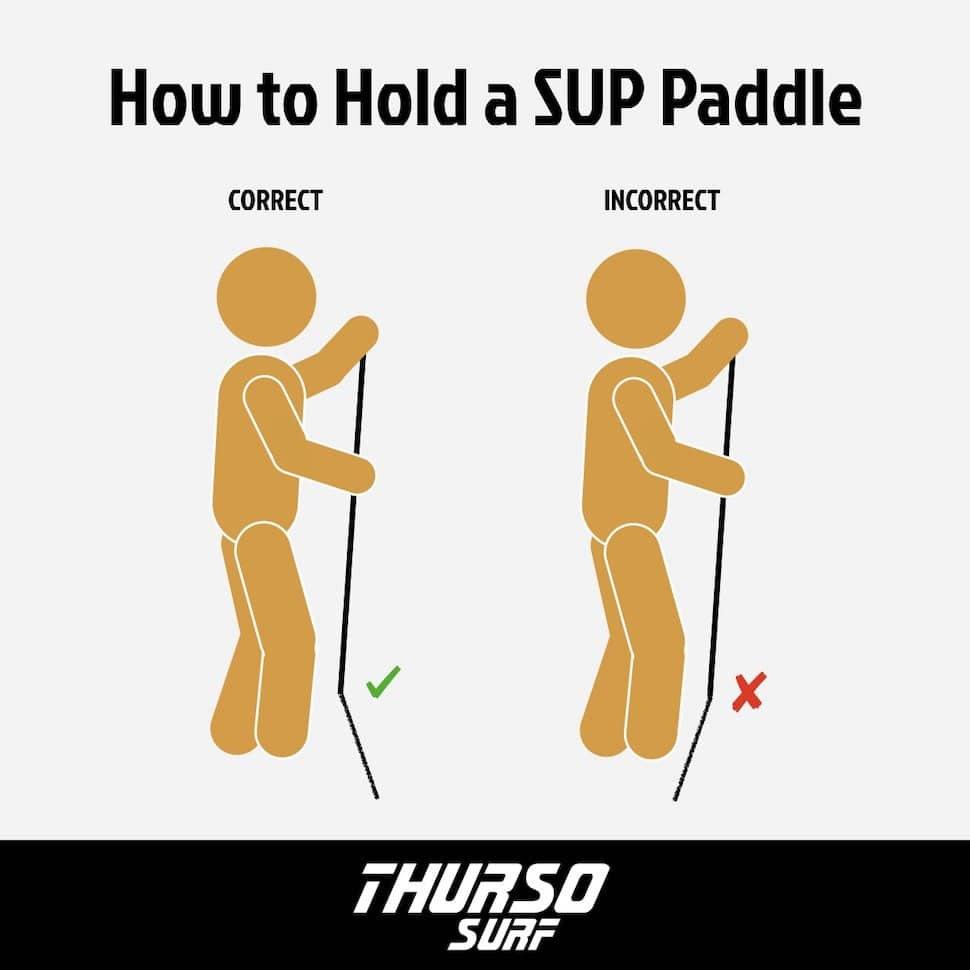 blade angle front facing hold SUP paddle correctly