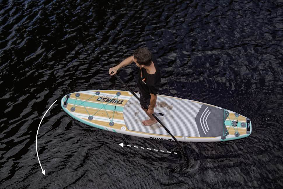 Overhead image of man using a back paddle to maneuver
