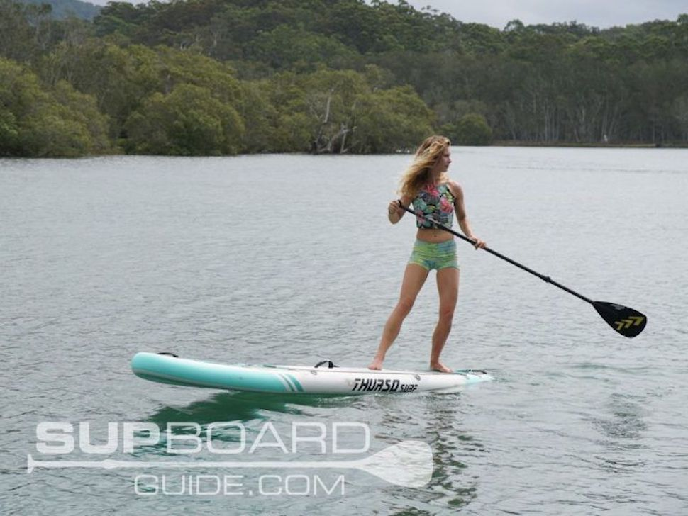 Woman paddles Thurso Surf Waterwalker for best all-around SUP award 2019 by Supboardguide.com