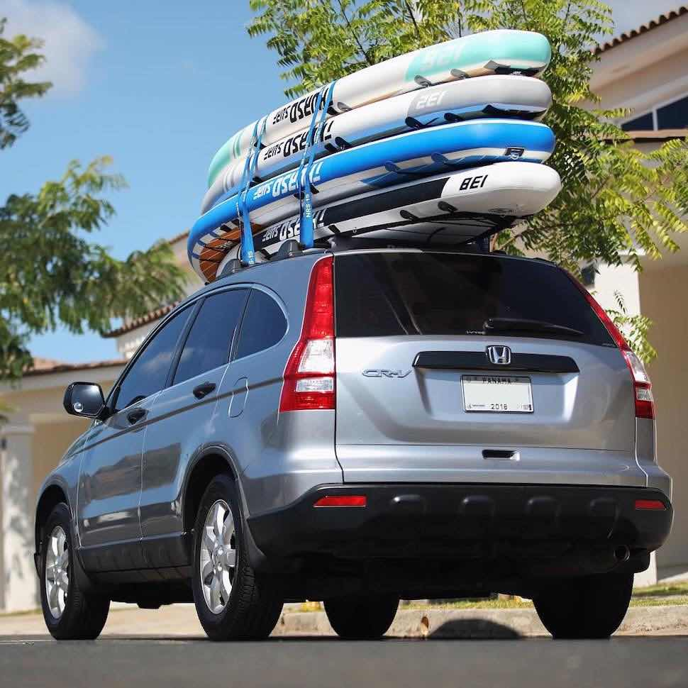 Thurso Surf Expedition Touring, Max Multi-purpose, and Waterwalker All-arounds on roof rack