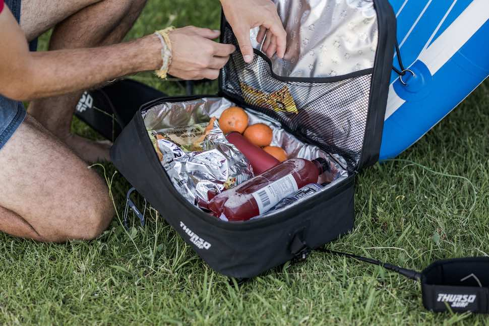 Food stored in Thurso Surf stand up paddleboard Deck Cooler Bag