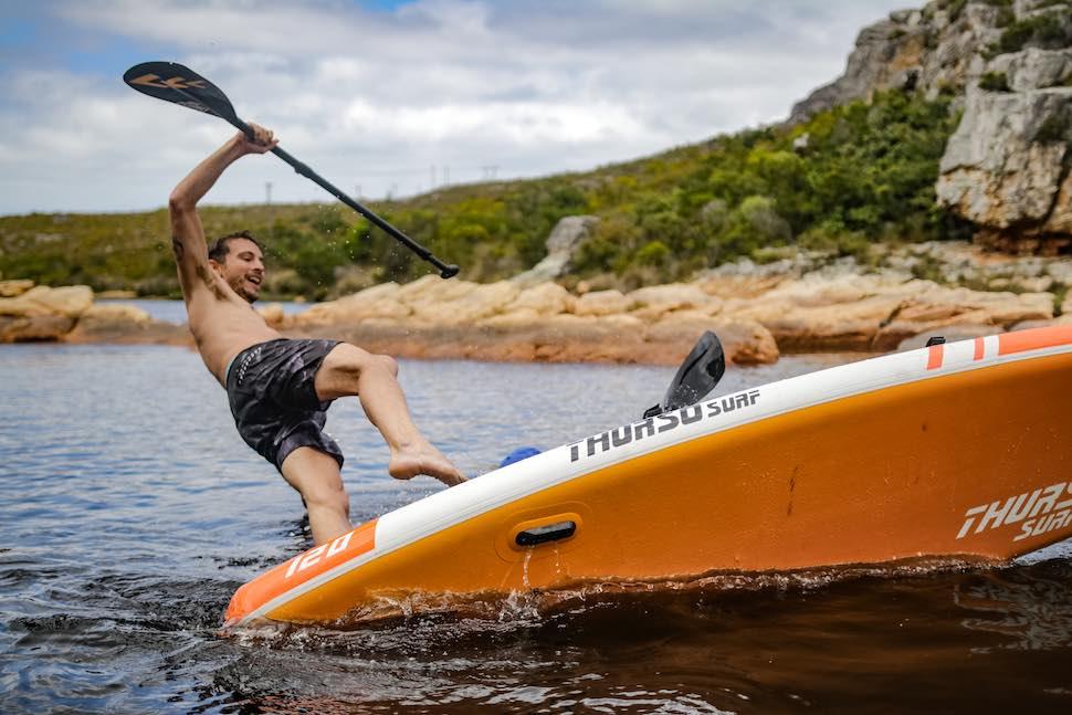 Man falls off Thurso Surf Waterwalker All-around SUP