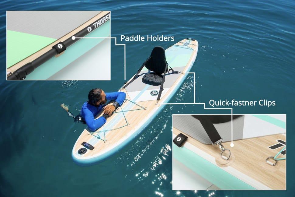 paddleboarder rests on Thurso Surf All-around stand up paddle board with attached kayak seat