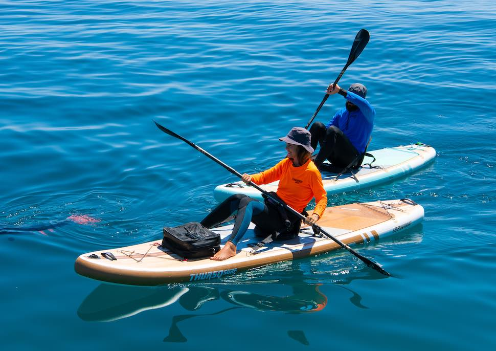 couple paddles from upgraded Thurso Surf SUPs with kayak seats